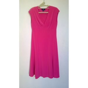 Chaps Hot Pink Jersey Fit Flare Dress Medium